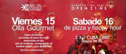 Viernes 15, De olla Gourmet Sábado 16, Pizzas y happy hour